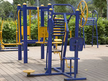 New outdoor gym equipment  Stock Images