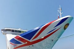 New P and O Union Jack Style Logo. The bow of the P and O cruise ship Oriana displaying the cruise line's recently adopted Union Jack style logo. P&O Cruises is Royalty Free Stock Photos