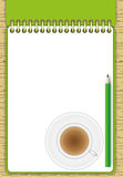 The new page green note pad and pencil Royalty Free Stock Image