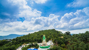 New pagoda on hilltop at Patong beach. New construction pagoda at Thepmongkolnimit temple on hilltop at Patong.on the high mountain you can see all around Patong Royalty Free Stock Photos