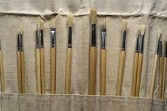 New Paintbrushes in Canvas Pouch Royalty Free Stock Images