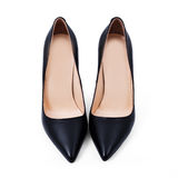 New pair of black stylish shoes Stock Photo