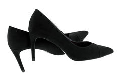 New pair of Black velvet high heels, beautiful shoes for ladies Royalty Free Stock Photography