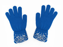 New Pair of Blue Knit Gloves. With Pattern isolated on white background royalty free stock images