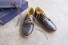 New pair of brown leather dress shoes Royalty Free Stock Photos