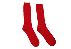 New Pair Red Cotton Socks. Isolated on white background royalty free stock photos