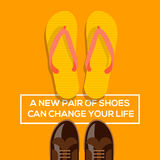 New pair of shoes can change your life. Concept of choices, a new pair of shoes can change your life. Vector eps10 illustration stock illustration