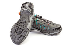 New pair of sport shoe for mountain cycling. Stock Photography