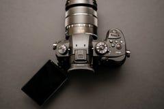 New Panasonic Lumix GH5 and Leica 12-60 camera lens. PARIS, FRANCE - APR 9, 2017: Tilt-screen detail of the Panasonic Lumix DMC-GH5 - and Leica Vario-Elmarit 12 stock photo