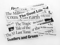 New paper headlines. Close up of new paper headlines Royalty Free Stock Images