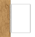 New paper page with wood board. Stock Photo
