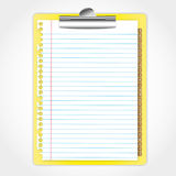 New paper sheet. On yellow clip board and text bookmark Stock Photography