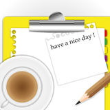 New paper sheet. And pad with coffee Royalty Free Stock Image