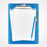 New paper sheet on clip board. And pencil Royalty Free Stock Image