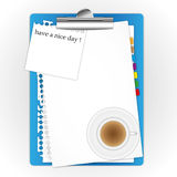 New paper sheet with coffee. New paper sheet with coffee and short note Stock Photography