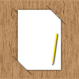 New paper and yellow pencil Royalty Free Stock Photos