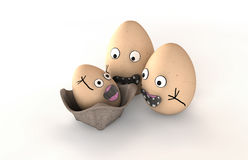 New Parent Egg Characters. 3 made up eggs with human emotion that are obviously happy about the arrival of their baby egg Stock Photo