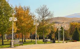 New park in the mountains. Ashkhabad. Turkmenistan.  royalty free stock photography