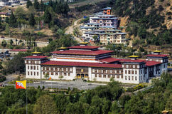 The new parliament building in Thimphu, Bhutan. Parliament of Bhutan, seen from Trashi Chhoe Dzong, Thimphu Royalty Free Stock Photography