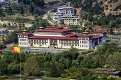 The new parliament building in Thimphu, Bhutan. Parliament of Bhutan, seen from Trashi Chhoe Dzong, Thimphu Stock Photo
