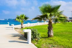 New pedestrian promenade in Paphos. Paphos has recently won the bid to be European Capital of Culture 2017. New pedestrian promenade in Paphos. Paphos has royalty free stock photo