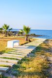 New pedestrian promenade in Paphos. Paphos has recently won the bid to be European Capital of Culture 2017. New pedestrian promenade in Paphos. Paphos has royalty free stock photos