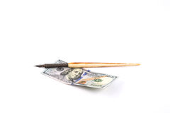 New 100 $ and a pen. Pen on the new 100 us dollars Stock Photography