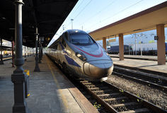New Pendolino high-speed tilting train. The New Pendolino is a class of high-speed tilting trains built by Alstom Ferroviaria for Trenitalia, known as ETR 610 royalty free stock photography
