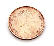 New penny. Slightly shabby coin 1979 in one New Penny stock photography