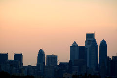 New Philadelphia Skyline. A shot of the new Philadelphia, PA skyline at dusk, with the skyscrapers silhouetted Stock Photos