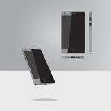 New phone. The new style: black case, three-dimensional view template for sites, graphic design Royalty Free Stock Image