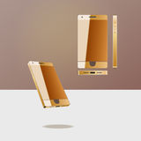 New phone. The new style: with the gold case, three-dimensional view template for sites, graphic design Stock Photo