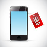 New phone with sold tag illustration design Stock Photo