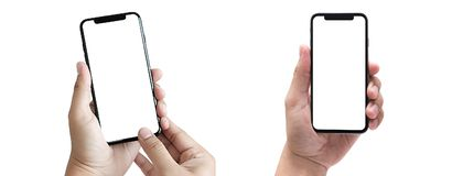 New phone Technology smartphone with blank screen and modern frame less design royalty free stock images