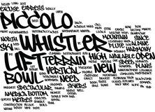The New Piccolo Lift At Whistler Text Background Word Cloud Concept Stock Photos