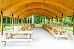New Picnic Pavilion at the Park. A new picnic pavilion at Hell`s Hollow state park what a great place to have a family outing stock photos