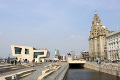New Pier Head and Liver buildings, Liverpool. Royalty Free Stock Photo