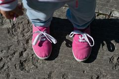New pink canvas shoes. Girl wearing new pink canvas shoes with white laces Royalty Free Stock Photo