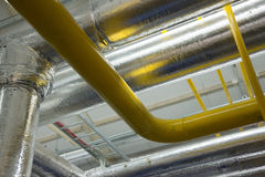 New pipeline on ceiling In boiler Stock Photography