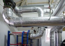 New pipeline on ceiling In boiler Royalty Free Stock Photo