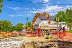 New pipeline in neighborhood Royalty Free Stock Photo