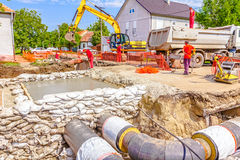 New pipeline in neighborhood Royalty Free Stock Photography