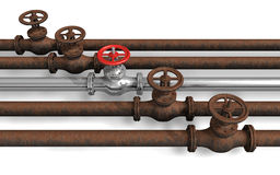 New pipeline within rusty ones Royalty Free Stock Photo