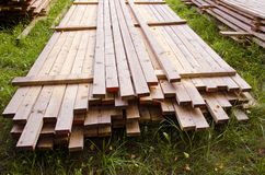 New planks  on the grass Royalty Free Stock Image