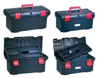 New plastic toolbox. Opened on white background Royalty Free Stock Images