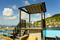 A new platform for a marina's dock in the windward islands Royalty Free Stock Photo