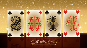 New 2014 Poker Year, greeting card. Vector royalty free illustration