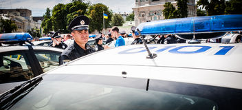 New police patrol took the oath Royalty Free Stock Photo