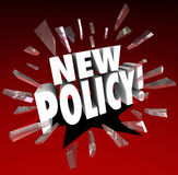 New Policy Word Announcing Official Rules Regulation Compliance Royalty Free Stock Photography