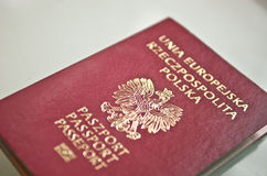 New Polish Passport. With Microchip Data Stock Photography